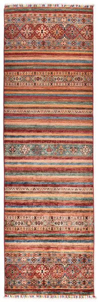 Handgeknüpfter Shawl Teppich aus Ghazni Wolle - Pir Mahal - 83x257cm