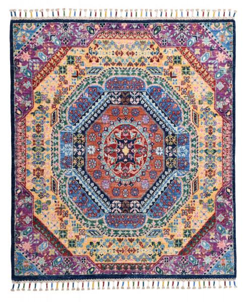 Handgeknüpfter Shawl Teppich aus Ghazni Wolle - besonders fein - Legacy - 98x112cm