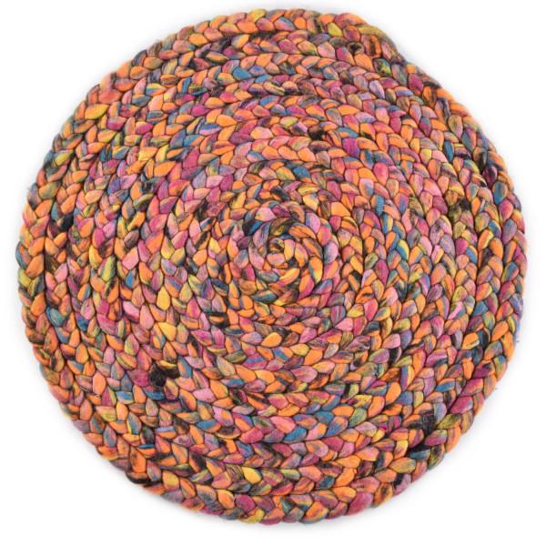 Handgearbeiteter Filzseilteppich aus Schurwolle - 100cm rund