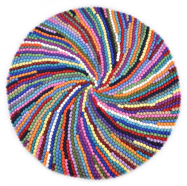 Handgearbeiteter Filzkugelteppich aus Schurwolle - 100cm rund