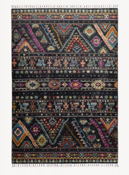 Handgeknüpfter Shawl Teppich aus Ghazni Wolle - Pir Mahal - 124x186 cm