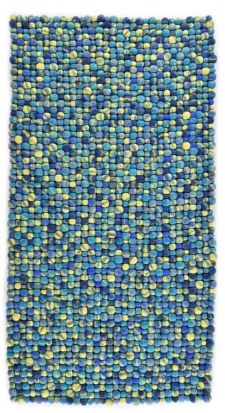 Handgearbeiteter Filzkugelteppich aus Schurwolle - 70x140cm