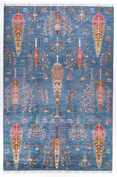 Handgeknüpfter Shawl Teppich aus Ghazni Wolle - Pir Mahal - 204 x 305 cm