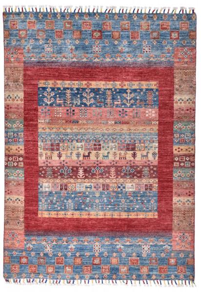 Handgeknüpfter Shawl Teppich aus Ghazni Wolle - Pir Mahal - 130x147cm