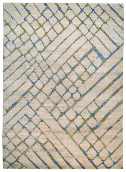 Handgeknüpfter Designerteppich Wolle/Nessel - FINE NATURE - 163 x 227 cm