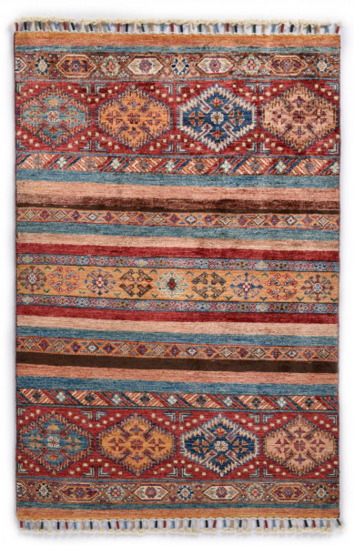 Handgeknüpfter Shawl Teppich aus Ghazni Wolle - Pir Mahal - 85x129cm