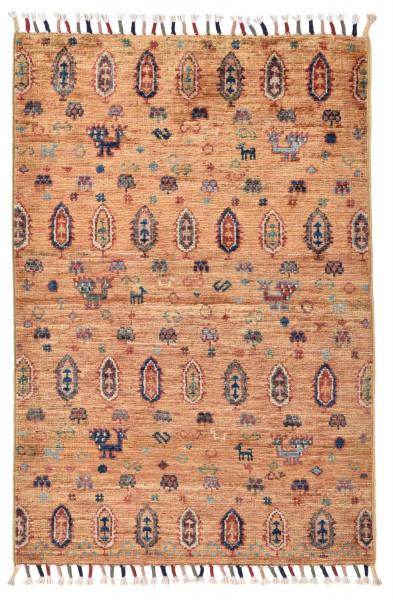 Handgeknüpfter Shawl Teppich aus Ghazni Wolle - Pir Mahal - 61x89cm