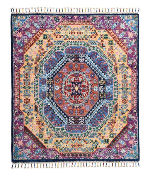 Handgeknüpfter Shawl Teppich aus Ghazni Wolle - besonders fein - Legacy - 99x112cm