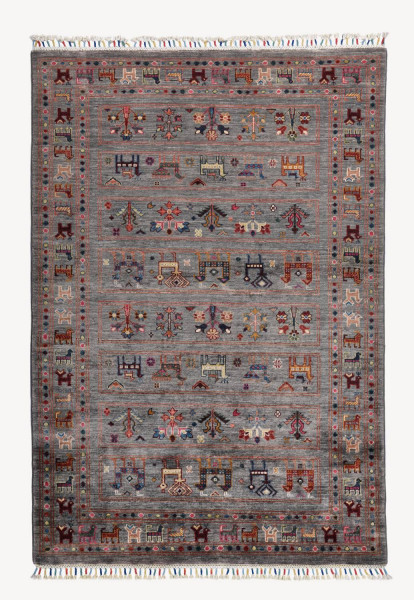 Handgeknüpfter Shawl Teppich aus Ghazni Wolle - Pir Mahal - 127x182 cm