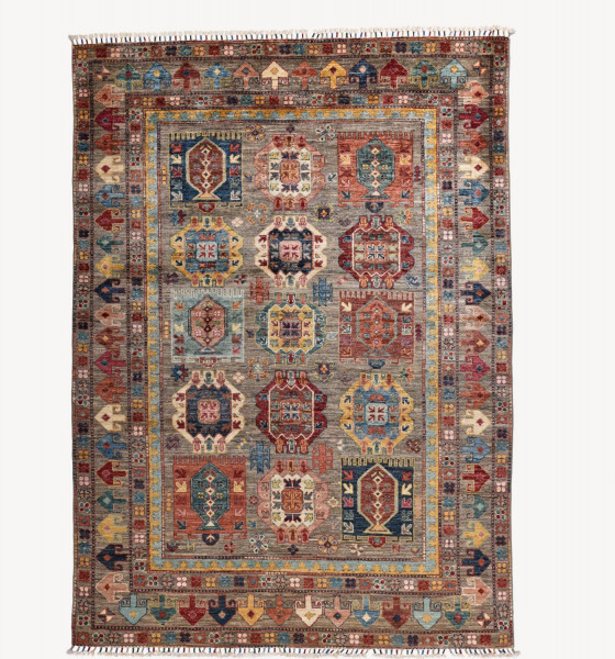 Handgeknüpfter Shawl Teppich aus Ghazni Wolle - Pir Mahal - 153x211 cm